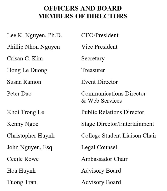 Officers and Board Members of Directors